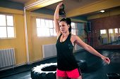 Hard Workout With Kettlebell, Woman Doing Intense Training poster
