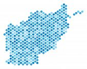 Постер, плакат: Blue Dotted Afghanistan Map Vector Geographic Map In Blue Color Variations On A White Background V