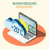 Weather Forecasters Isometric Composition On Orange Circle With Climate Conditions Prediction On Lap poster