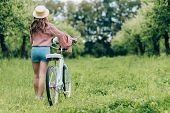 Back View Of Young Woman With Retro Bicycle With Wicker Basket Full Of Flowers In Forest poster