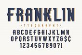 Franklin Trendy Vintage Display Font Design, Alphabet, Typeface, Letters And Numbers, Typography. Ve poster