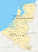 Benelux. Belgium, Netherlands And Luxembourg. Political Map With Capitals, Borders And Important Cit poster