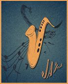 Illustration Of Saxophone And Musical Notes On Stave.  Sax On Blue Grunge Background. Texture To Cre poster