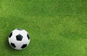 Football Field Or Soccer Field With Green Grass Pattern And Texture For Background. poster