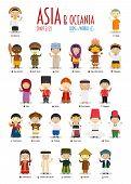 Kids And Nationalities Of The World Vector: Asia And Oceania Set 2 Of 2. Set Of 24 Characters Dresse poster