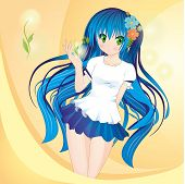 Anime Style Girl With Blue Hair And Green Eyes On Bright Yellow Background poster
