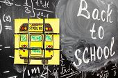 Collage Of Back To School Background With Title Back To School And School Bus Written On The Yellow  poster
