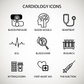 Vector Illustration Concept. Medical Cardiology Vector Icon Set. Special Medical Objects And Equipme poster