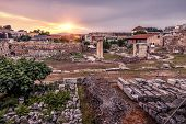 Library Of Hadrian At Sunset, Athens, Greece poster