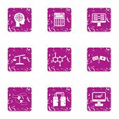 Scientific Case Icons Set. Grunge Set Of 9 Scientific Case Vector Icons For Web Isolated On White Ba poster