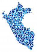 Peru Map Composition Of Random Dots In Various Sizes And Blue Shades. Vector Small Square Are Groupe poster