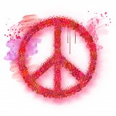 Watercolor Peace Sign Symbol For Peace Day. Art Abstract Illustration Painting With Colorful Red Spl poster