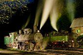 pic of former yugoslavia  - steam locomotives at night - JPG