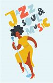 Vector Cartoon Illustration Of Female Black Jazz Singer On Stage With Microphone. Dynamic Compositio poster