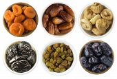 Collage Of Different Dried Fruits. Dried Prunes, Dried Apricots, Raisins, Dates, Figs Isolated On Wh poster