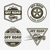 Set Of Four Off-road Suv Car Monochrome Labels, Emblems, Badges Or Logos Isolated On White Backgroun poster
