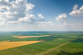 Aerial View Of Agricultural Fields. Countryside, Agricultural Landscape Aerial View. poster