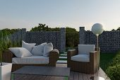 3d Rendering Of Rattan Garden Furniture On Wooden Patio At Garden In The Evening Sunshine poster