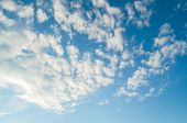 Blue Picturesque Sky Landscape With White Dramatic Clouds. Picturesque Blue Sky Landscape poster