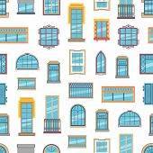 Vector Window Flat Icons Background Or Pattern Illustration. Architecture Frame Windows Glass Exteri poster