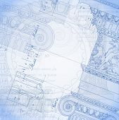 Blueprint. Hand draw sketch ionic architectural order. Bitmap copy my vector ID 84472297