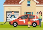 Cartoon Happy Family Washes Car Near Home Vector Illustration. Clipart. Flat Style. poster