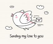 Sending My Love To You Greeting Card With Funny Bird With Love Letter. Happy Valentine`s Day Love Ca poster