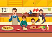 Happy Cartoon Family Cooks Pizza In Kitchen. People Prepare Italian Food. Vector Illustration. Clipa poster