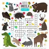 Animals Crossword. Kids Words Brainteaser With North America Animal Set, Word Searching Puzzle Game  poster