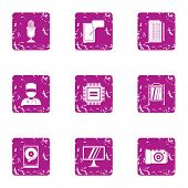 Glare Display Icons Set. Grunge Set Of 9 Glare Display Vector Icons For Web Isolated On White Backgr poster