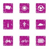 Safe Plastic Icons Set. Grunge Set Of 9 Safe Plastic Vector Icons For Web Isolated On White Backgrou poster