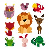 Animals Character Design, Cute Animals Collection, Face Animals Set poster