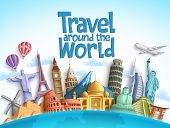 Travel Around The World Vector Background Design With Famous Landmarks And Tourist Destination Eleme poster