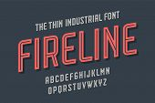 Alphabet And Font Fire Line. Bold, Regular And Medium Uppercase Letters. Strong Trendy Industrial In poster