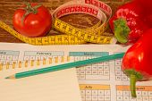 Concept Diet. Lose Weight By Eating Healthy Vegetables. Vegetarian Dieting. Low-fat Diet poster