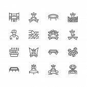 Trampoline Amusement Park Flat Line Icons. Kids Playground, Jumping People, Sport Activity, Clown Il poster