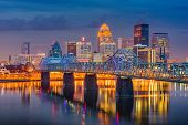 Louisville, Kentucky, USA downtown skyline on the Ohio Riiver at dusk. poster