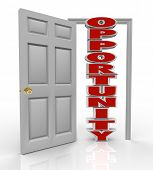 A white door opens to reveal the word Opportunity to illustrate the new chance you have to succeed i