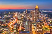 Atlanta, Georgia, USA downtown skyline over the highways at dusk. poster