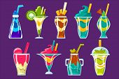 Smoothies And Sweet Multilayered Cocktails Collection Of Bright Color Glossy Icons, Cute Vector Clip poster