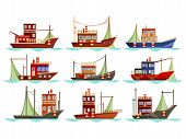 Set Of Isolated Fishing Boats With Net. Vessel At River Or Sea, Ocean Searching For Catch Or Trawler poster