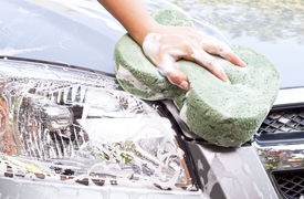 picture of car wash  - Hand with sponge cleaning car - JPG