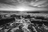 Stunning Black And White Seascape With The Amazing Sky Over The Water. Water Motion Blur poster