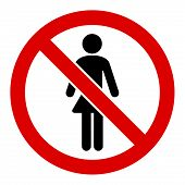 No Ladies Vector Icon. Flat No Ladies Symbol Is Isolated On A White Background. poster
