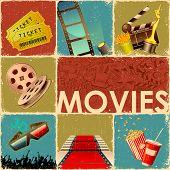 Постер, плакат: Иллюстрация коллаж фона фильм с объектом различных кино