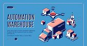 Automated Warehouse Logistics Landing Page With Robots Loading Boxes In Delivery Truck And Flying Qu poster