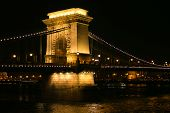 View Of Szechenyi Chain Bridge Between Buda And Pest At Night In Hungary poster