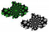 Akmola Region (republic Of Kazakhstan, Regions Of Kazakhstan) Map Is Designed Cannabis Leaf Green An poster