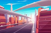 City Road, Empty Streetscape Freeway, Speed Two-lane Highway, Overpass Or Bridge In Modern Megapolis poster