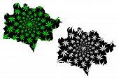 East Kazakhstan Region (republic Of Kazakhstan, Regions Of Kazakhstan) Map Is Designed Cannabis Leaf poster